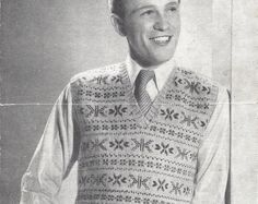 Man's Fair Isle Pullover Vintage Knitting Pattern 535