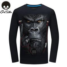 20 estilo 3D de la Camiseta S-6XL Hombres De manga Larga 2016 Animal Orangután Tiger Lobo León Impreso Camisetas de Los Hombres de Algodón Casual Marca T shirt