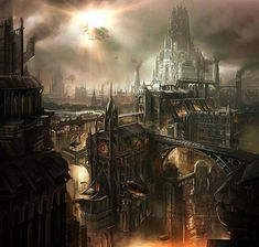 Concept City Art Futuristic designs let us peer into the potential world of fantasy and sci-fi. With massive cityscape designs you can imagine what life coul. Fantasy City, Fantasy Places, Fantasy World, Steampunk City, Steampunk Artwork, Steampunk Wallpaper, Steampunk Makeup, Steampunk Bedroom, Steampunk Drawing