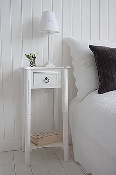 Tall, narrow bedside table to go with tall bed. New England white bedside table with one drawer and shelf, wnatique brass handle. Bedroom Tv Wall, Bedroom Door Design, White Bedroom Furniture, Home Furniture, Bedroom Decor, Bedroom Ideas, Furniture Vintage, Furniture Design, Tall Side Table