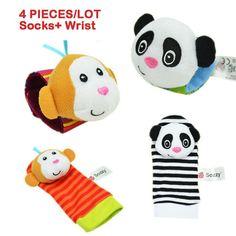 Baby toy baby rattles sozzy animal socks Wrist Strap with rattle (2pcs socks+2pcs wrist strap)