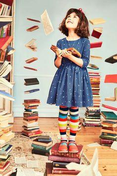 NWT Mini Boden Roald Dahl Girl Blue Matilda Alphabet Dress 6 7 w/ Striped Tights Mini Boden, Little Girl Dresses, Little Girls, Baby Dresses, Dress Girl, Roald Dahl Characters, Roald Dahl Stories, Matilda Roald Dahl, Matilda Costume