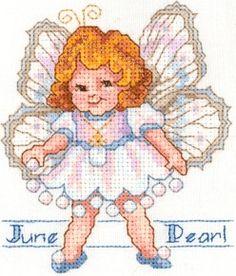 Toddler Birthstone Fairy June Pearl Cross Stitch Pattern 1/5