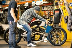 Mickey Rourke's Golden Custom Motorcycle by Roland Sands via @leatherupcom