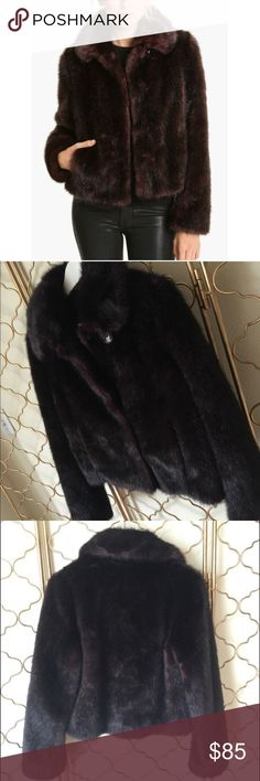 Gallery Faux Fur Jacket Dark purple toned (color is Merlot) faux fur jacket. Has side pockets. Worn once, like new. NO TRADES Gallery Jackets & Coats