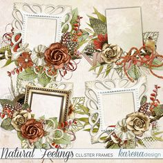 Digital Scrapbooking, Floral Wreath, Frames, Feelings, Natural, Paper, Shop, Collection, Design