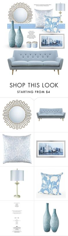 """""""Light Blue"""" by monmondefou ❤ liked on Polyvore featuring interior, interiors, interior design, home, home decor, interior decorating, Quoizel, John Robshaw, Trend Lighting and StyleNanda"""