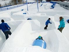 Marmot Maze at Beaver Creek ski resort is a life-size hillside maze made of plastic slides and tubes that kids can run, crawl, and slide through. It's adjacent to Beaver Creek's Tubing Hill, making this a fun way to spend your downtime.