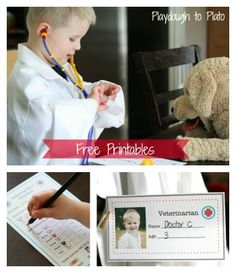 Free printables to set up a pretend play veterinarian's office for kids. {Playdough to Plato}