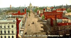 Vintage Postcard Of Dexter Ave. Looking East To The State Capitol Building In Montgomery, Alabama