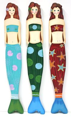 California Seashell Company - 3 Asst. Wood Mermaids, (http://www.caseashells.com/3-asst-wood-mermaids/)