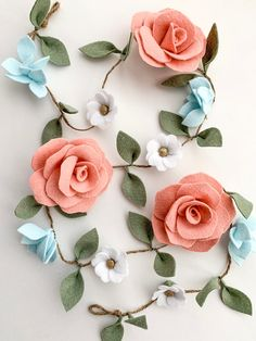 Your place to buy and sell all things handmade Floral Garland, Diy Garland, Flower Garlands, Rose Garland, Party Garland, Felt Garland, Garland Nursery, Nursery Wall Decor, Felt Diy