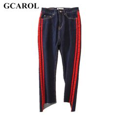 29.97$  Watch now  - GCAROL 2017 Women Striped Spliced  Denim Jeans Fashion High Waist Ankle-Length Flare Pants Early Spring Summer Jeans