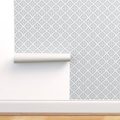 Geometric Wallpaper - Light Gray Moroccan Flower By Sugarfresh - Gray Custom Printed Removable Self Adhesive Wallpaper Roll by Spoonflower