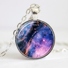 Purple Nebula Necklace, Galaxy Pendant, Galaxy Necklace, Stars Jewelry (0632S). $8.95, via Etsy.