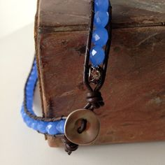 Summer Sky blue crystal beaded single wrap leather necklace by Sparklefant, NYC