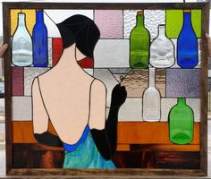 "Stained Glass Panel - ""Lady with Martini"" (P-48)"