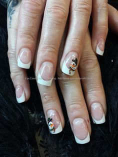 White tips with snowman freehand nail art