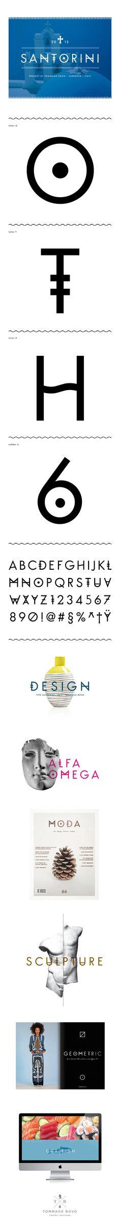 Graphic by Tommaso Bovo / www.tommasobovo.com Carattere tipografico di tipo bastone (senza grazie) basato sullo studio degli stilemi dell'isola greca di Santorini. #font #sansserif #serif #greece