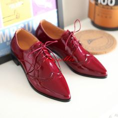 2016 Womens Brogue Pointed Toe Oxfords Wing Tips Lace Up Pu Patent Leather Shoes