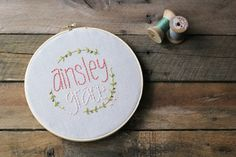 Baby Name Embroidery Hoop / Personalized / Baby by ThePennyRunner
