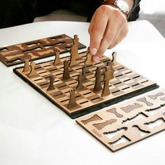 Minimalist wooden chess set. Unique gift idea for Christmas
