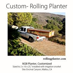 "ROLLING PLANTERS ON THE MOVE.  CUSTOM ROLLING PLANTERS, 2 x 10' x 25"" being delivered to out  of way site Malibu, CA.   Main box made, wheels chassis ""Lego-ed"" into place at site.  No need for tools, fully assembled maintains quality and provides a finished solution to grow vegetables one wants to grow on seldom used hardscape surfaces.  Planters able to move to the side when hardscape needed for other  functions. www.RollingPlanter.com"