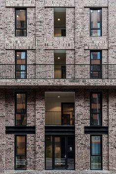 Geometric shapes modern architecture andres gallardo captures the bold hues of la muralla roja Detail Architecture, Urban Architecture, Modern Architecture House, Residential Architecture, Building Facade, Facade Design, Brickwork, Amsterdam, Inspiration
