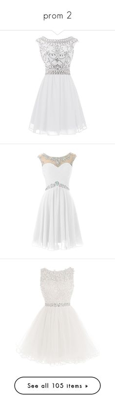 """""""prom 2"""" by alyssa23 ❤ liked on Polyvore featuring dresses, white beaded dress, short cocktail dresses, beaded prom dresses, chiffon dress, cocktail prom dress, short dresses, vestidos, sexy homecoming dresses and sexy mini dress"""