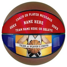 Personalized Red White and Blue Basketball Ball - tap/click to get yours right now!  #coach #coaches #red #white #and
