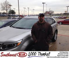 https://flic.kr/p/EijNDa | Happy Anniversary to Charles David on your #Kia #Sorento from Jerry Tonubbee at Southwest Kia Mesquite! | deliverymaxx.com/DealerReviews.aspx?DealerCode=VNDX