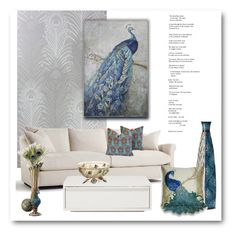 """Prettty Peacocks!"" by bliznec ❤ liked on Polyvore featuring interior, interiors, interior design, home, home decor, interior decorating, Elements, Thro, Pier 1 Imports and homedecor"