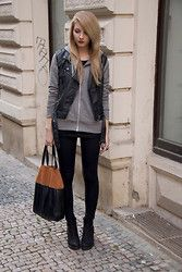 zip-up + leather vest
