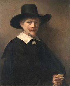 """""""Portrait of a Man Holding Gloves"""" by Rembrandt van Rijn. 1648, oil on wood. In the collection of The MetMuseum, NYC. Bequest of Benjamin Altman."""