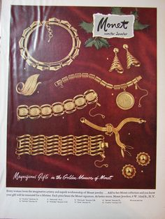 1953 MONET Golden Cynthia Belinda Necklaces Bracelets PIN PHOTO #Vintage #Jewelry Print #Ad