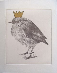 original etching of a bird with golden crown,hand pulled Art And Illustration, Japanese Bird, Bird Artwork, Chalk Pastels, Linocut Prints, Bird Feathers, Sculpture, Printmaking, Graphic Art