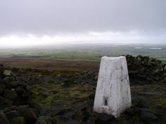 The trig point on Clougha Pike in the Forest of Bowland.