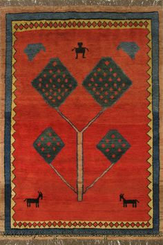 Gabbeh Geometric Hand Knotted Wool Rug