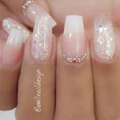 Traum Hochzeit❣️✨ Wedding Hair Style Tips: Cho Frensh Nails, Dope Nails, Pink Nails, Coffin Nails, Summer Acrylic Nails, Best Acrylic Nails, Glittery Acrylic Nails, Acrylic Nail Designs Glitter, Glitter Nail Art