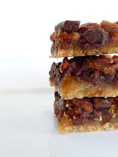 Chunky Pecan Pie Bars  This is the same recipe my friend Charlene makes....trust me when I say only make these to take somewhere unless you are prepared to eat the whole pan! Also, PLEASE use a good quality chocolate chip if you go that route.... no milk chocolate!