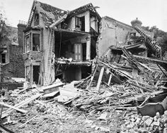 Bomb damage to property in Estreham Road in Streatham, London, following the Zeppelin raid on the night of 23 - 24 September 1916.