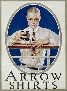 Arrow Dress Shirts Joseph Leyendecker Giclee Art Print WIth Mounted Canvas Option This is a high quality giclee fine art print. It is a reproduction of a vintage fashion advertising art poster for men's dress shirts by Arrow in Albania . Retro Ads, Vintage Ads, Vintage Prints, Vintage Posters, 1920s Advertisements, 1920s Ads, Mad Men Poster, Jc Leyendecker, Style