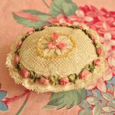 The prettiest .. handmade pin cushion with victorian by DustyDaisy