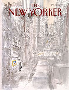 """The New Yorker - Monday, March 1988 - Issue # 3292 - Vol. 64 - N° 5 - Cover by """"Sempé"""" - Jean-Jacques Sempé The New Yorker, New Yorker Covers, Biking In The Rain, Editorial Illustration, Magazine Illustration, New Yorker Cartoons, Wall Art For Sale, Magazine Art, Magazine Covers"""
