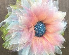 Deco Mesh Flower Wreath, Summer Wreath, Spring Wreath, Front Door Wreath, with Faux Green and Pink Gems in the Center by A Noble Touch Tool Wreath, Sunflower Wreaths, Dahlia Flower, Green Accents, Faux Flowers, Summer Wreath, Wreaths For Front Door, How To Make Wreaths, Deco Mesh