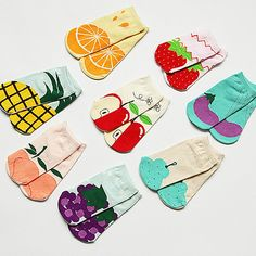 1Pair/lot Fruit Printed Cute Lovely Cotton Socks For Women Girls Fashion Slippers Candy Ladies Ankle Meias Calcetines Mujer