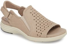 Aravon Beaumont Slingback Sandal in Grey. A perforated upper adds subtle sophistication to a slingback sandal grounded by a comfort-cushioned, memory foam footbed. Memory Foam, Expensive Shoes, Shoe Wardrobe, Grey Shoes, Shoes Men, Women's Shoes Sandals, Women Sandals, Slingback Sandal, Types Of Shoes