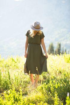 The Magnolia Dress in Hunter Green