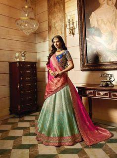Navy And Sky Blue Banarasi Silk Heavy Embroidered Designer Lehenga Choli Ethnic Dress, Indian Ethnic Wear, Indian Art, Lehenga Blouse, Lehenga Choli, Sarees, Indian Wedding Outfits, Indian Weddings, Chanya Choli