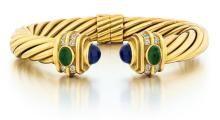 18kt Yellow Gold, Diamond and Gemstone Bracelet